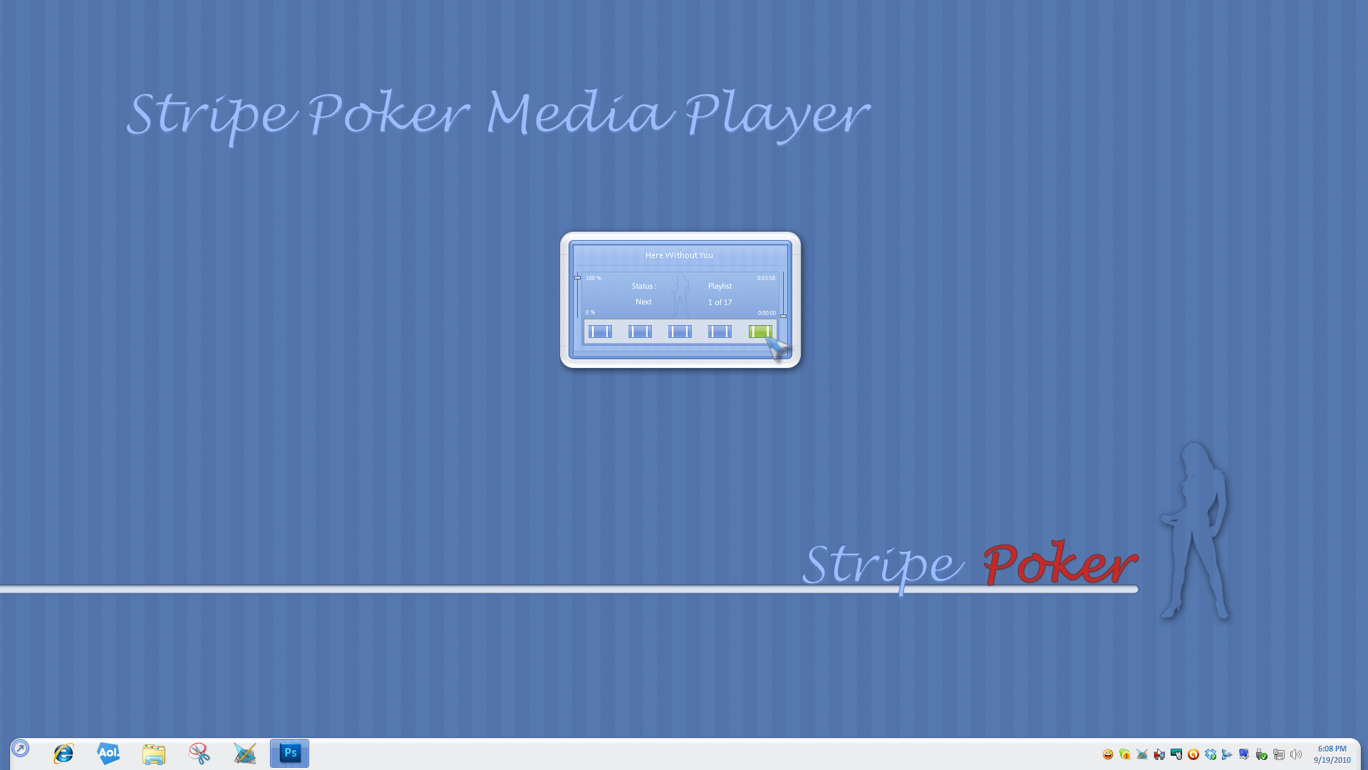 Stripe Poker Media Player Widget