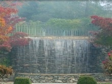foggy park waterfall