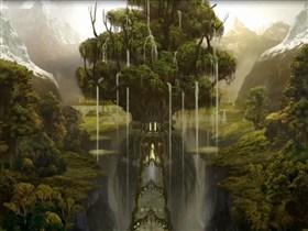 waterfall off a tree