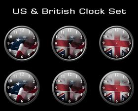 US & British Clock Set