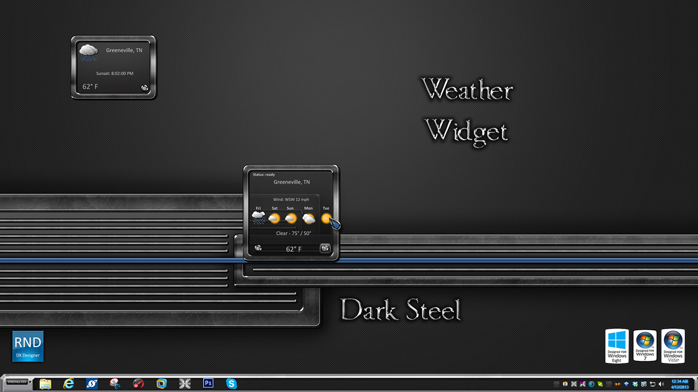Dark Steel Weather Widget